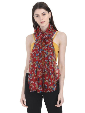 FabSeasons Maroon Leaf Printed Cotton Scarf for Summer & Winter