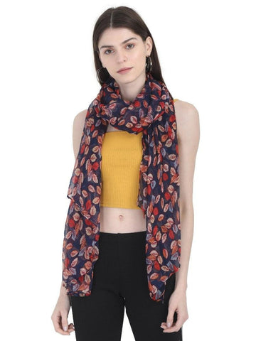 FabSeasons Navy Leaf Printed Cotton Scarf for Summer & Winter