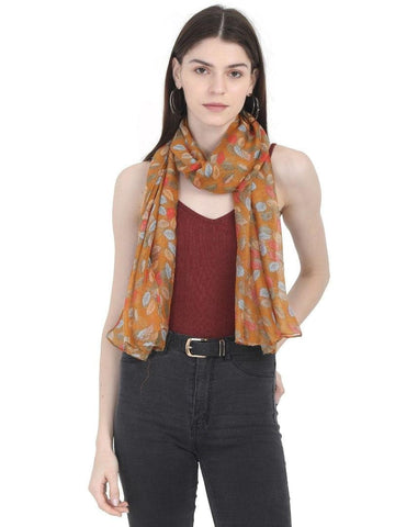 FabSeasons Yellow Leaf Printed Cotton Scarf for Summer & Winter