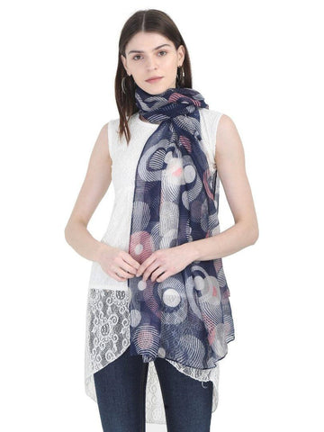 FabSeasons Stylish Blue Circle Printed Cotton Scarf