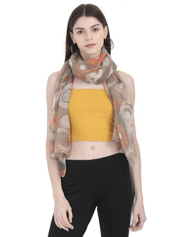 FabSeasons Stylish Brown Circle Printed Cotton Scarf