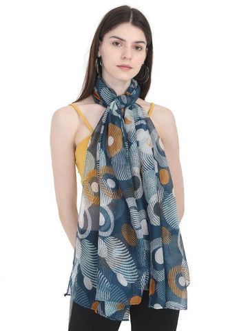 FabSeasons Stylish Green Circle Printed Cotton Scarf
