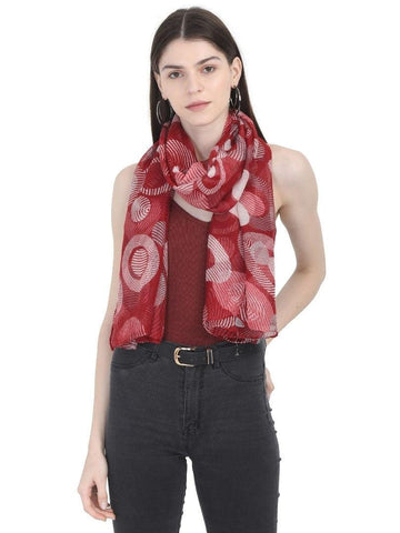 FabSeasons Stylish Maroon Circle Printed Cotton Scarf