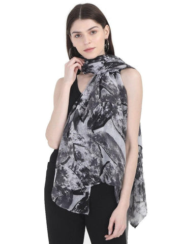 FabSeasons Black Stylish Nature Printed Cotton Scarves For Women