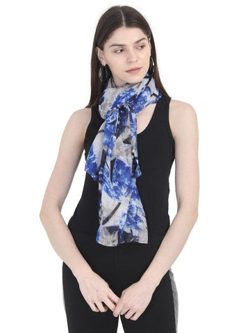 FabSeasons Blue Stylish Nature Printed Cotton Scarves For Women