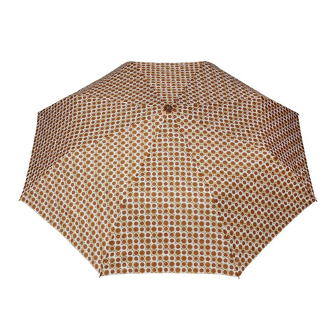 FabSeasons Brown Geometric Printed 3 Fold Fancy Automatic Umbrella