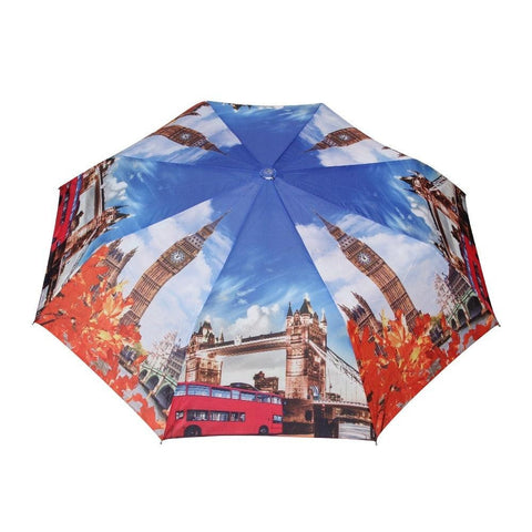 FabSeason Big Ben & London Bridge Printed 3 Fold Fancy Umbrella