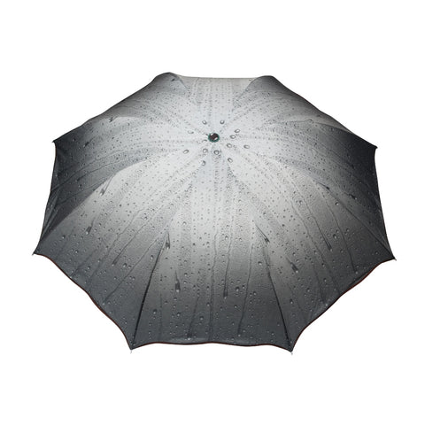 FabSeasons Rain Drops Printed 3 Fold Fancy Black Umbrella