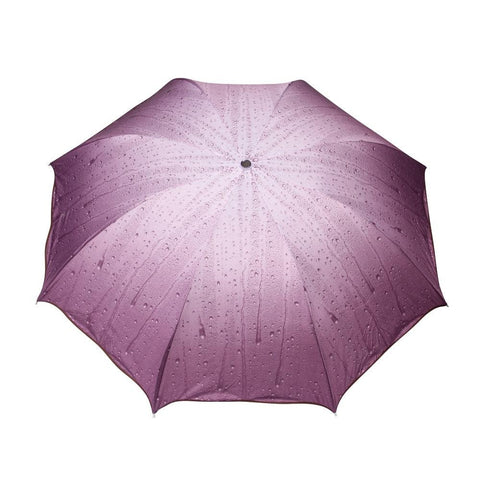 FabSeasons Rain Drops Printed 3 Fold Fancy Purple Umbrella