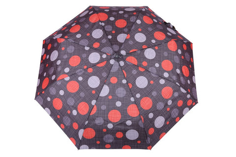 FabSeasons Red Dotted Digital Printed 3 Fold Fancy Automatic Black Umbrella