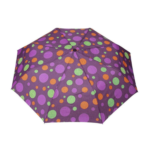 FabSeasons Purple Dotted Digital Printed 3 Fold Fancy Automatic Umbrella