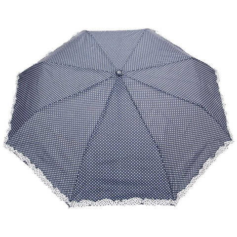 FabSeasons NavyBlue Dot Printed with frills 3 fold fancy Automatic Umbrella