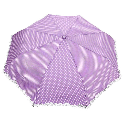 FabSeasons Purple Dot Printed with frills 3 fold fancy Automatic Umbrella