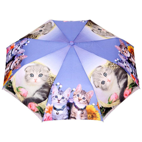 FabSeasons Cute Cats and Kittens Teddy Print 3 fold Beige Umbrella