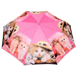 FabSeasons Cute Cats and Kittens Teddy Print 3 fold Orange Umbrella
