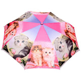 FabSeasons Cute Cats and Kittens Teddy Print 3 fold Pink Umbrella