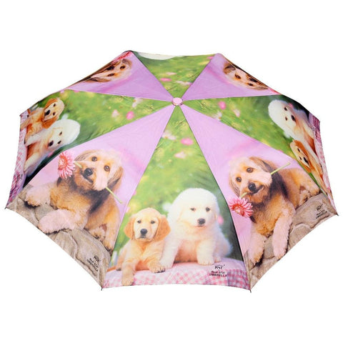 FabSeasons Cute Dogs Teddy Print 3 fold Green Umbrella