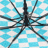 FabSeasons Checkered Blue Checks Printed 3 Fold Semi Automatic Umbrella