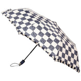 Fabseasons Checkered Grey Checks Printed 3 Fold Semi Umbrella with Frills