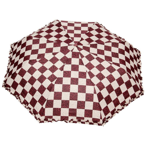 FabSeasons Checkered Maroon Checks Printed 3 Fold Semi Automatic Umbrella