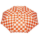 FabSeasons Checkered Orange Checks Printed 3 Fold Semi Umbrella with Frills