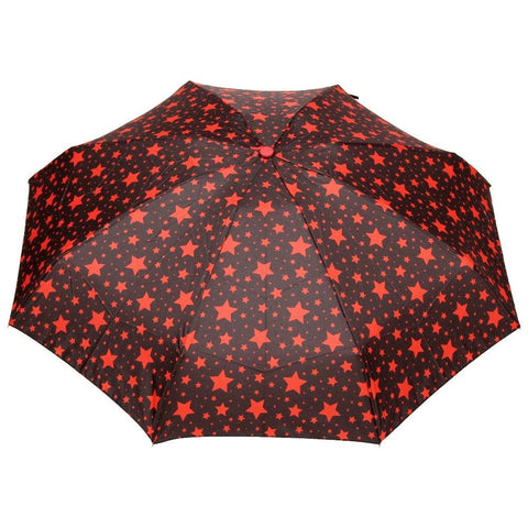 FabSeasons 5 fold Red Star Printed Small Compact Manual Umbrella