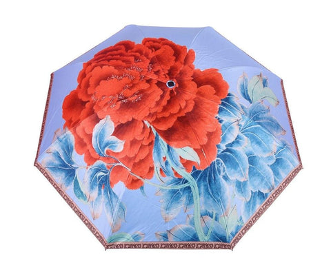 FabSeasons Blue Floral Digital Printed 3 Fold Fancy Manual Umbrella