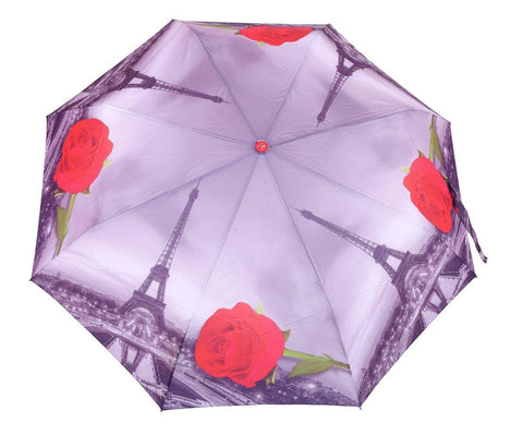 FabSeasons Paris Eiffel Tower with Red Rose Printed 3 Fold Automatic Umbrella