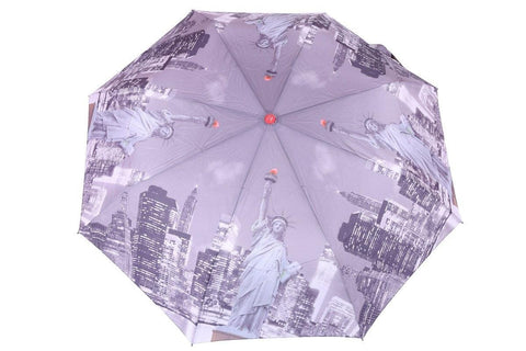FabSeasons Statue of Liberty, America Digital Printed 3 Fold Automatic Umbrella for Rains Summer and all Seasons