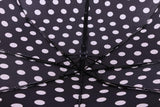 FabSeasons Big White Polka Dots Printed Automatic 3 Fold Black Umbrella with frills