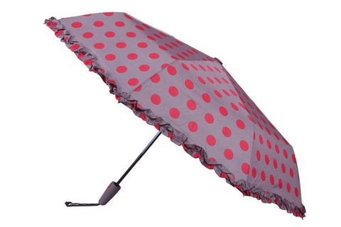 FabSeasons Big Polka Dots Digital Printed Automatic 3 Fold Umbrella with frills for Rains Summer and all Seasons