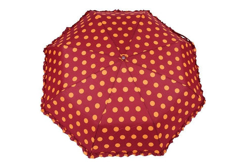 FabSeasons Big Yellow Polka Dots Printed Automatic 3 Fold Maroon Umbrella with frills