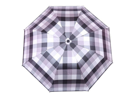 FabSeasons Grey Checks Printed UV protected 3 Fold Manual Umbrella