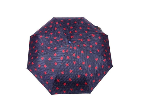 FabSeasons Red Star Digital Printed Semi Automatic 3 fold Umbrella