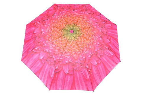 FabSeasons Pink Floral Digital Printed Semi Automatic 3 fold Umbrella