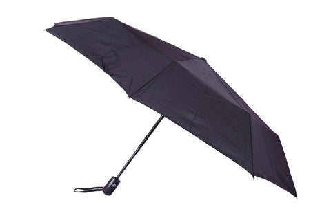 FabSeasons Black Solid - Plain 3 Fold Automatic Umbrella for all Rains Summer and all seasons
