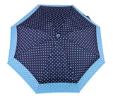 FabSeasons 5 fold Blue Polka Dots Digital Printed Small Compact Manual Umbrella