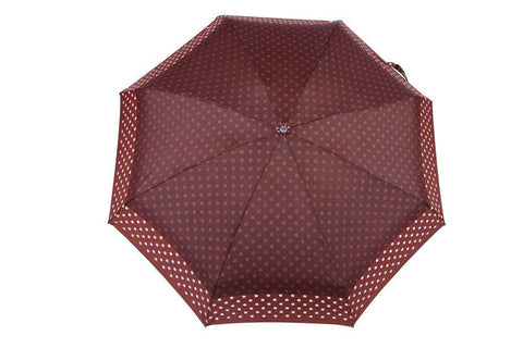 FabSeasons 5 fold Brown Polka Dots Digital Printed Small Compact Manual Umbrella