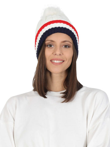 FabSeasons Acrylic White Woolen Winter skull cap with faux fur lining