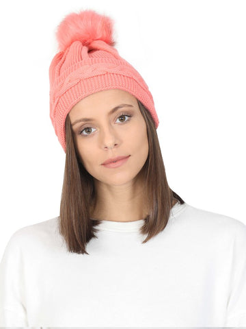 FabSeasons Acrylic Pink Woolen Winter skull cap for Girls & Women