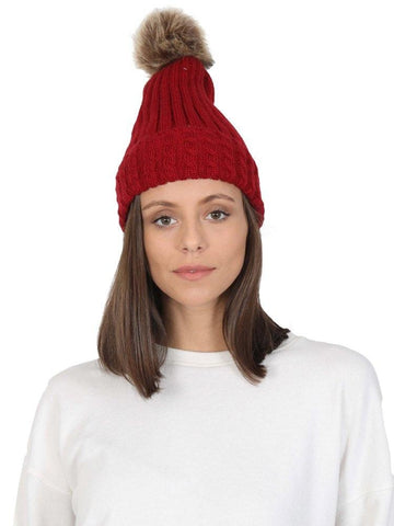FabSeasons Acrylic Maroon Woolen Winter skull cap with Pom Pom for Girls & Women