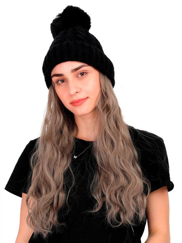 FabSeasons Winter Black skull cap with Pom Pom & a Detachable Wig for Girls & Women