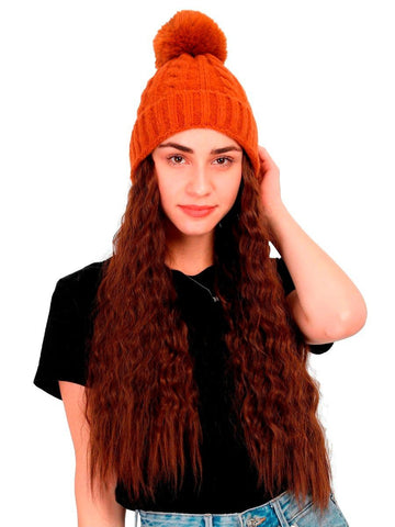 FabSeasons Winter Brown skull cap with Pom Pom & a Detachable Wig for Girls & Women