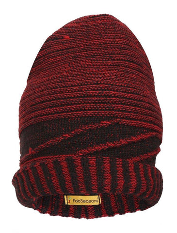 FabSeasons Unisex Acrylic Red Woolen Slouchy Beanie for Winters