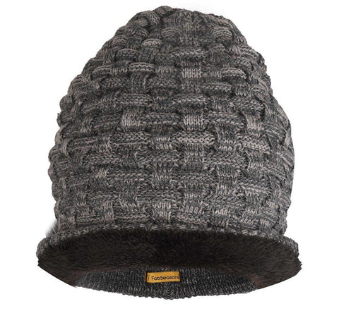 Fabseasons String Grey Acrylic Woolen Slouchy Beanie and Skull Cap