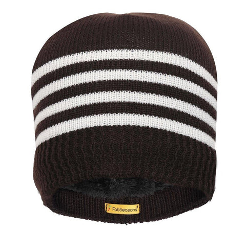 FabSeasons Unisex Brown Acrylic Woolen Skull Cap for Winters.
