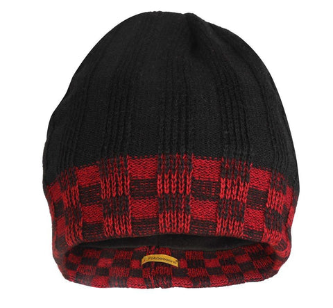 FabSeasons Acrylic Black Red Woolen Skull Cap with Fleece lining for extra protection