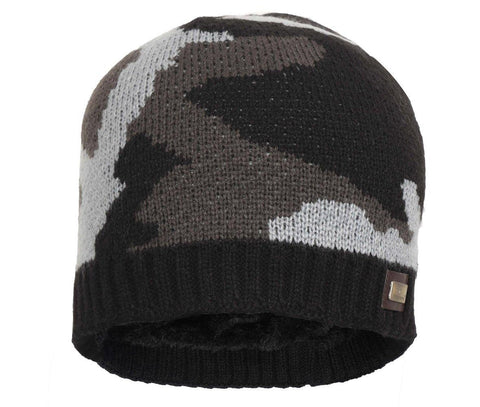 FabSeasons Acrylic Black Woolen Cap for Winters with Faux Fur