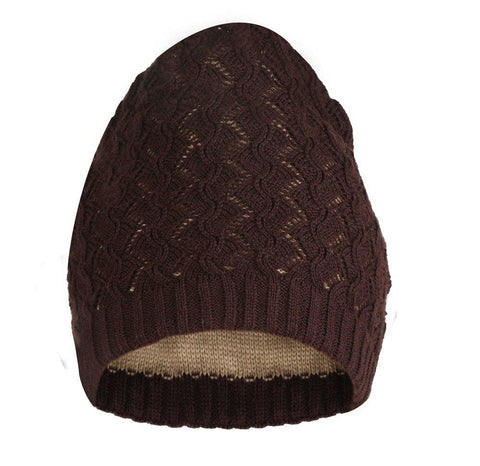 Fabseasons Zig Zag Brown Acrylic Woolen Slouchy Beanie and Skull Cap