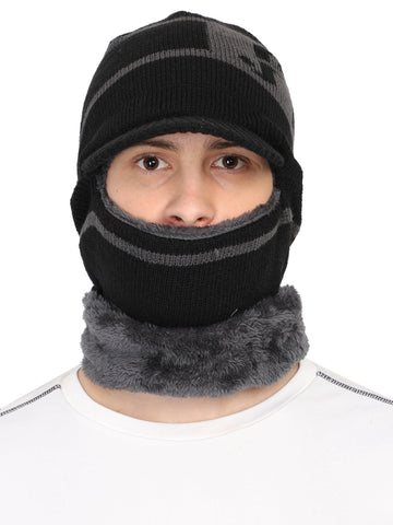 Acrylic Woolen Balaclava, Beanie / Skull Cap & Muffler for winter, Pack of 1